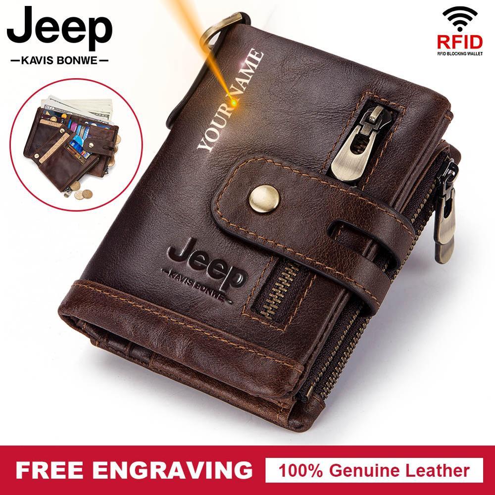 Free Engraving 100% Genuine Leather Men Wallet Coin Purse Small Mini Card Holder Chain PORTFOLIO Portomonee Male Walet Pocket