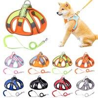 Pettorina per cani riflettente con guinzaglio traspirante regolabile in Nylon per animali domestici accessori per pettorina per cani di piccola taglia Chihuahua