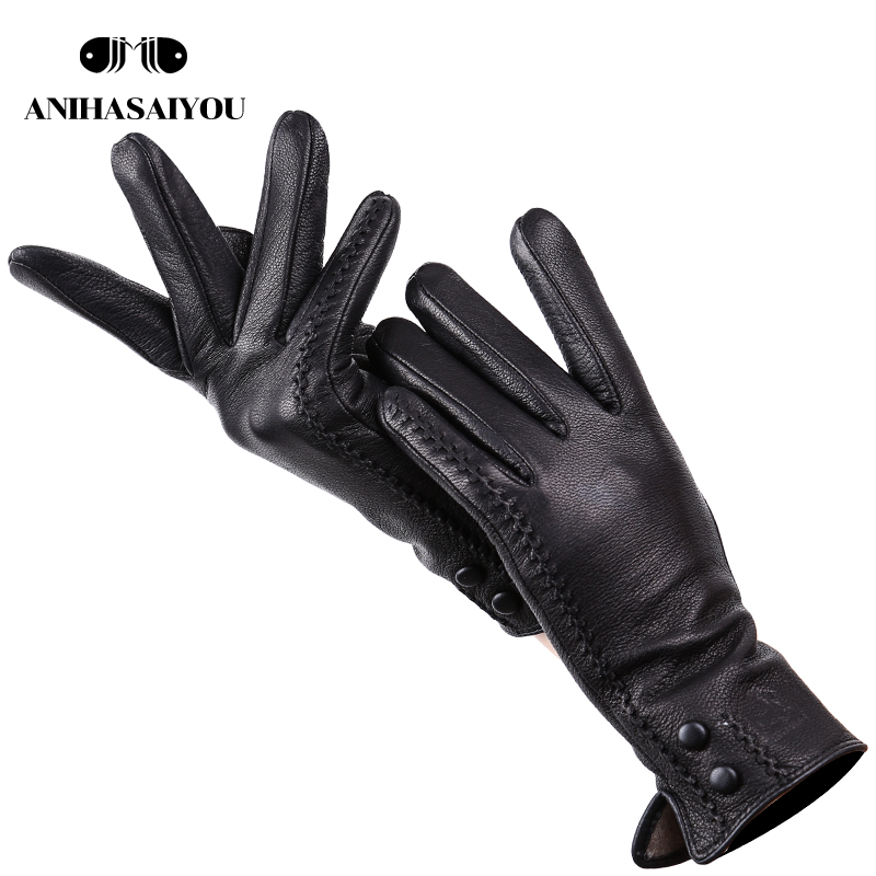 New Women's Gloves Genuine Leather Winter Warm Soft leather gloves women 70% wool lining Riveted Clasp High-quality Mittens-2301