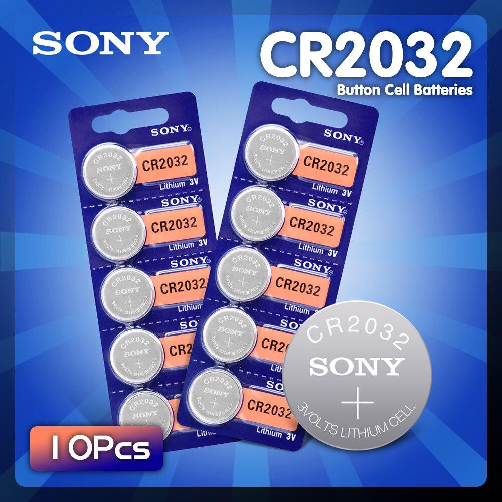 10 шт./лот sony CR2032 3V оригинальная литиевая батарея для мобильного часо-дистанционное управление калькулятор CR2032 2032 кнопочная ячейка батарейк...