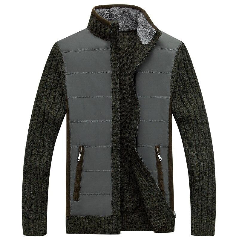 Automne hiver chandail hommes Patchwork coupe-vent épais chaud polaire Cardigan hommes col montant laine Liner hommes chandails - 2