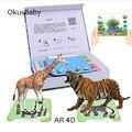 Телефон сканирование детей  обучающая игрушка AR 4D  яркая обучающая карта для животных  игры виртуальной реальности с многоязычным языком