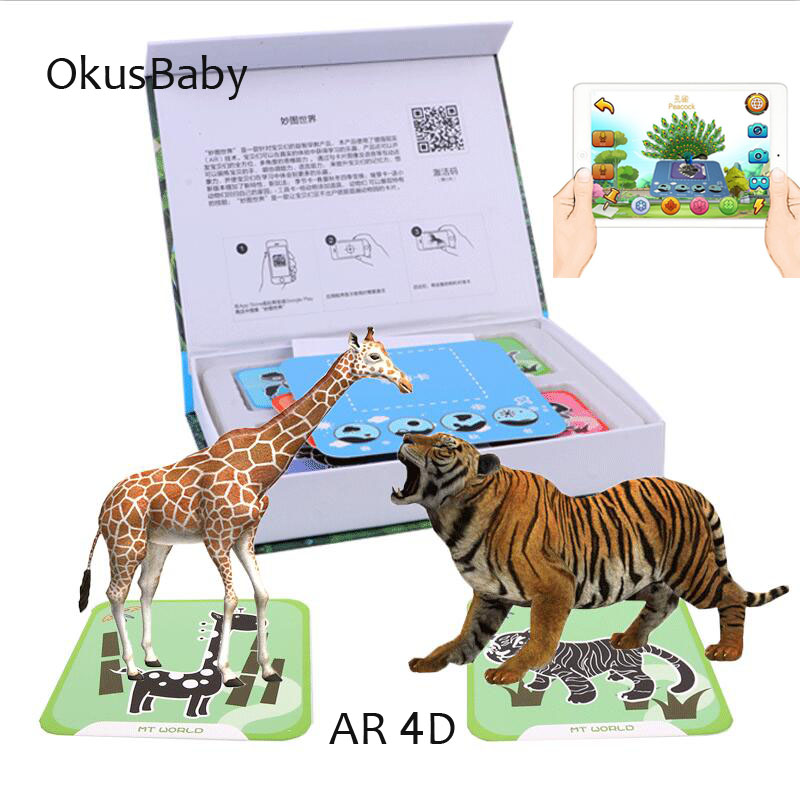 Phone Scan Children Educational AR Toy 4D  Vivid Animal Learning Card interaction virtual reality Games With Multi Language