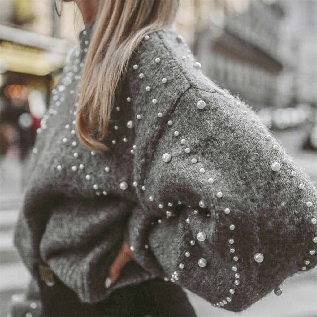 Femmes pull décontracté aiguille épaisse à manches longues col rond pull pull automne hiver décontracté perle chandails Femme vêtements