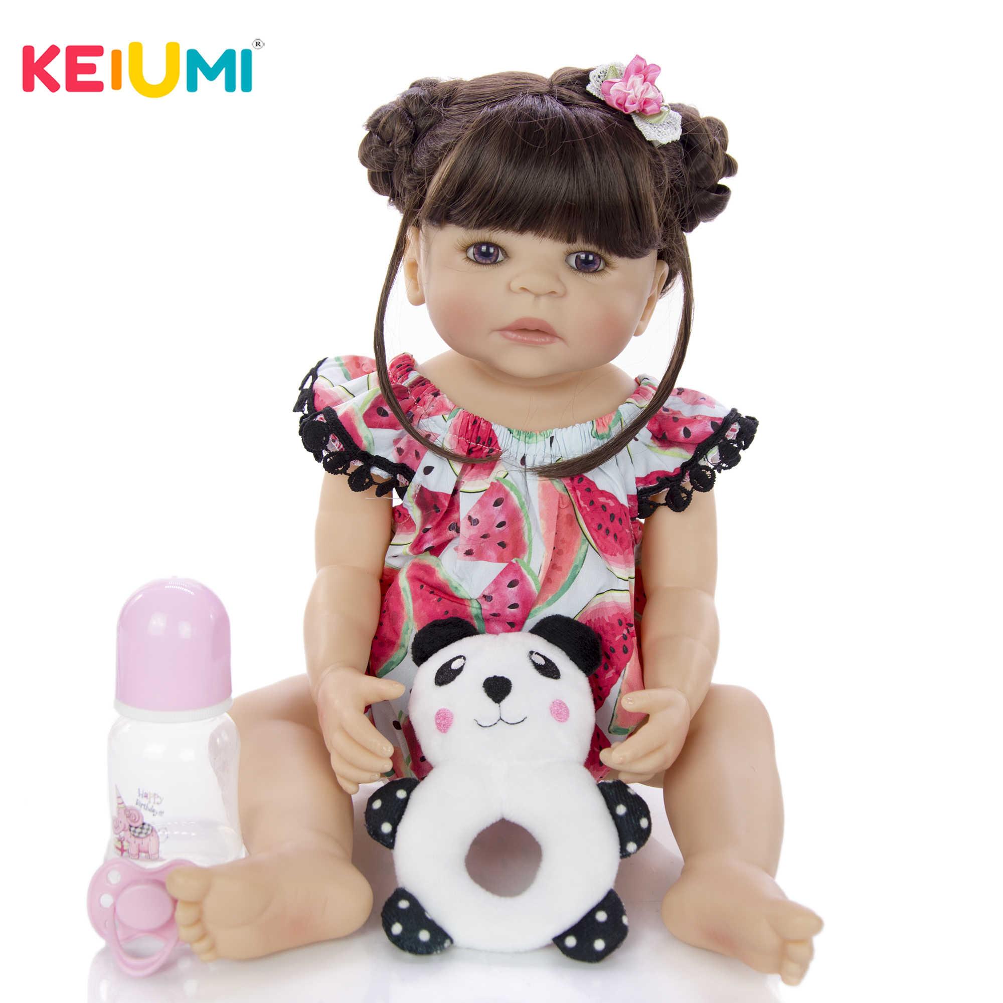 Keiumi 22 Polegada realista reborn bebês boneca 55 cm corpo de silicone vinil completo realista recém-nascido do bebê menina meninas para presentes das crianças