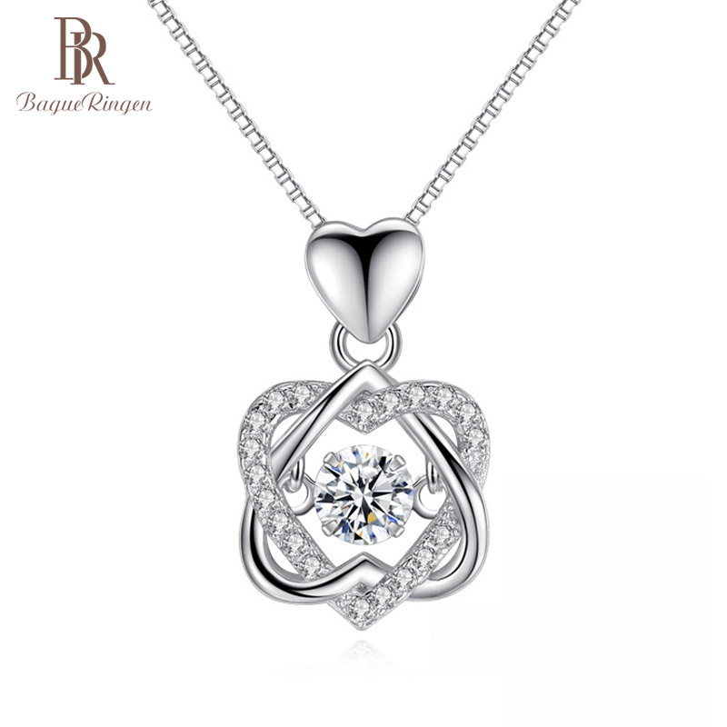 Bague Ringen 100% real 925 Silver necklace with round zircon pendent rose gold color silver jewelry woman wedding party gift