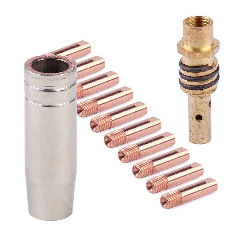 12 stücke Mig Schweißen Maschine Kontaktieren Tipps Kit 0,9mm M6 Für MB-15AK Schweißen Taschenlampe Düsen Pistole Schweißer Halter Gas werkzeuge