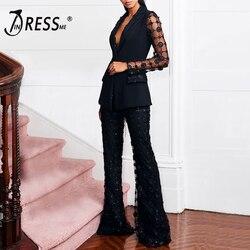 INDRESSME элегантный женский костюм, новинка 2019, комплект из 2 предметов с v-образным вырезом, сетчатый блейзер с блестками и длинным рукавом, брю...