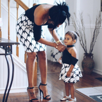 Fashion Mama And Daughter Half Sleeve Short Dress Sexy Mom Girl Off Shoulder Printed Dresses Summer Family Matching Outfits - discount item  52% OFF Children's Clothing
