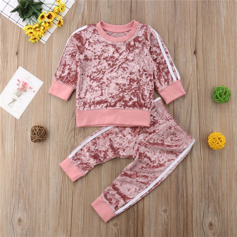 Kids Tracksuit For Girl Clothing Sets 2020 Toddler Girls Velvet Clothes 2pcs Outfit Suit Children Clothing 1-6Y