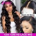 Парик из натуральных человеческих волос, 200, 250 плотность, 13x6