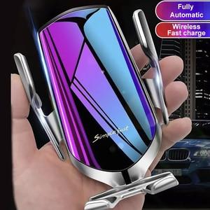 Image 1 - Aperto automático qi sem fio carregador de carro montar sensor infravermelho carregamento rápido titular para iphone 8 x xr xs 11 samsung s10 s9 s8