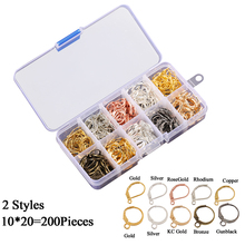 200Pcs/Box 2 Styles Gold/Silver French Lever Earring Hooks Wire Settings Base Hoops Earrings For DIY Jewelry Making Supplies