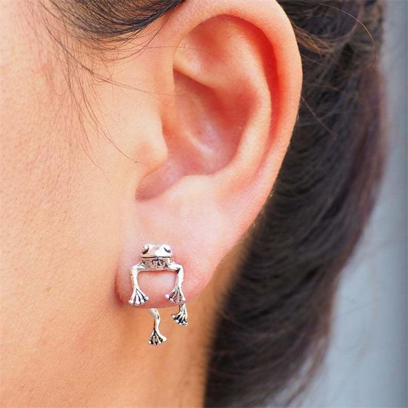 Cute Frog Earrings For Women Girls Animal Gothic Stud Earrings Piercing Female Korean Jewelry Brincos