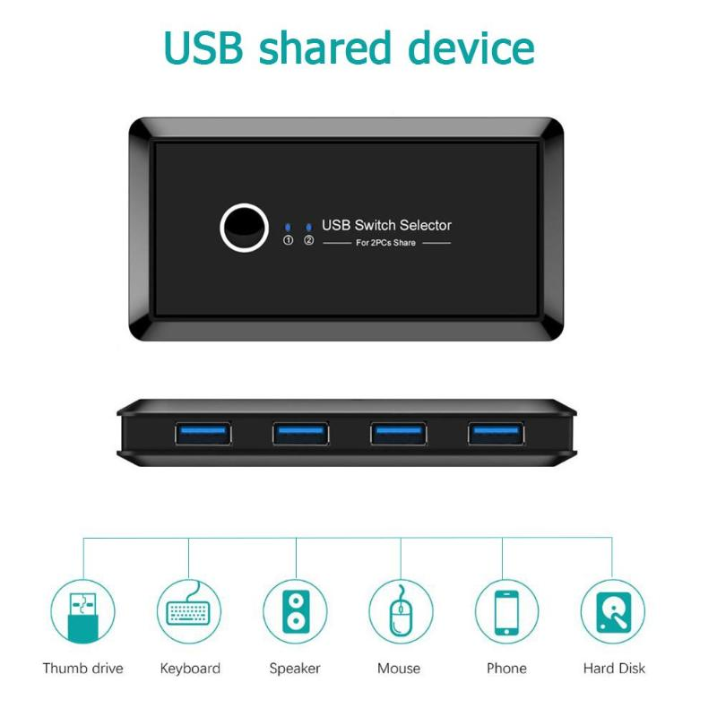 USB 3.0 Switcher Box Installa And Remove Convenient Simple HUB 2 PC Sharing 4 USB Devices For Printer Keyboard Mouse