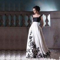 Faerie Vestido De Formatura Long Prom Dresses With Black Appliques Square Neck Floor Length White Prom Dress Backless