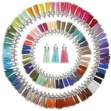 100/60 peças 50/30 cores 40 mm couro borla pingentes falso camurça borla com tampas para chaveiro correias diy acessórios