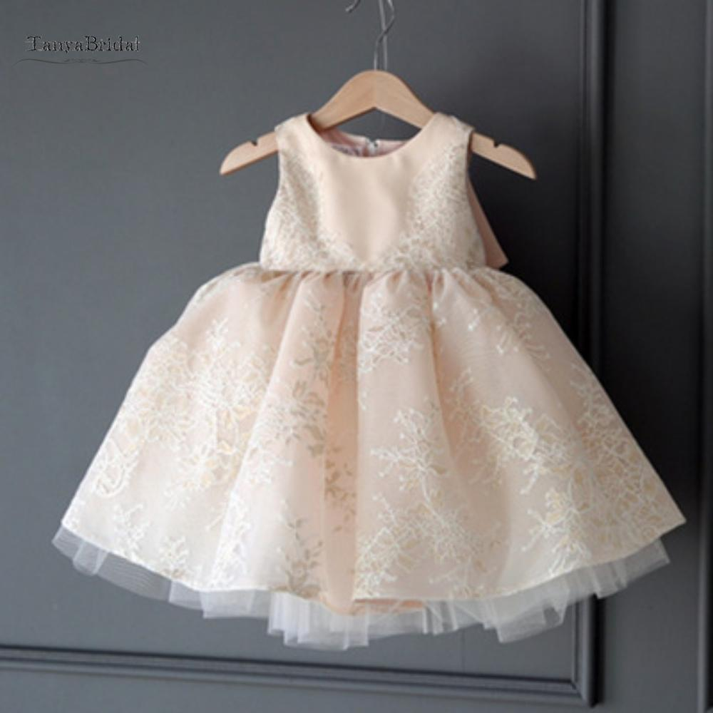 New Champagne Communion   Dresses   for   Girls   O-neck Sleeveless Ball Gown Lace Appliques   Flower     Girl     Dresses   for Weddings XF013
