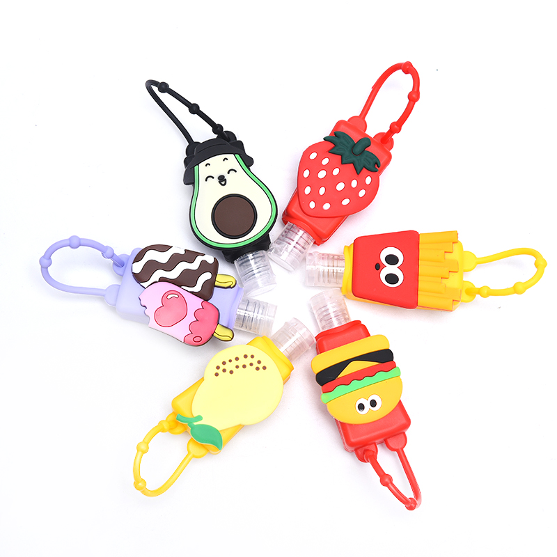 Cute Colourful Fruit Food Silicone Mini Hand Sanitizer Holder Travel Portable Gel Holder Hangable Liquid Dispenser Containers