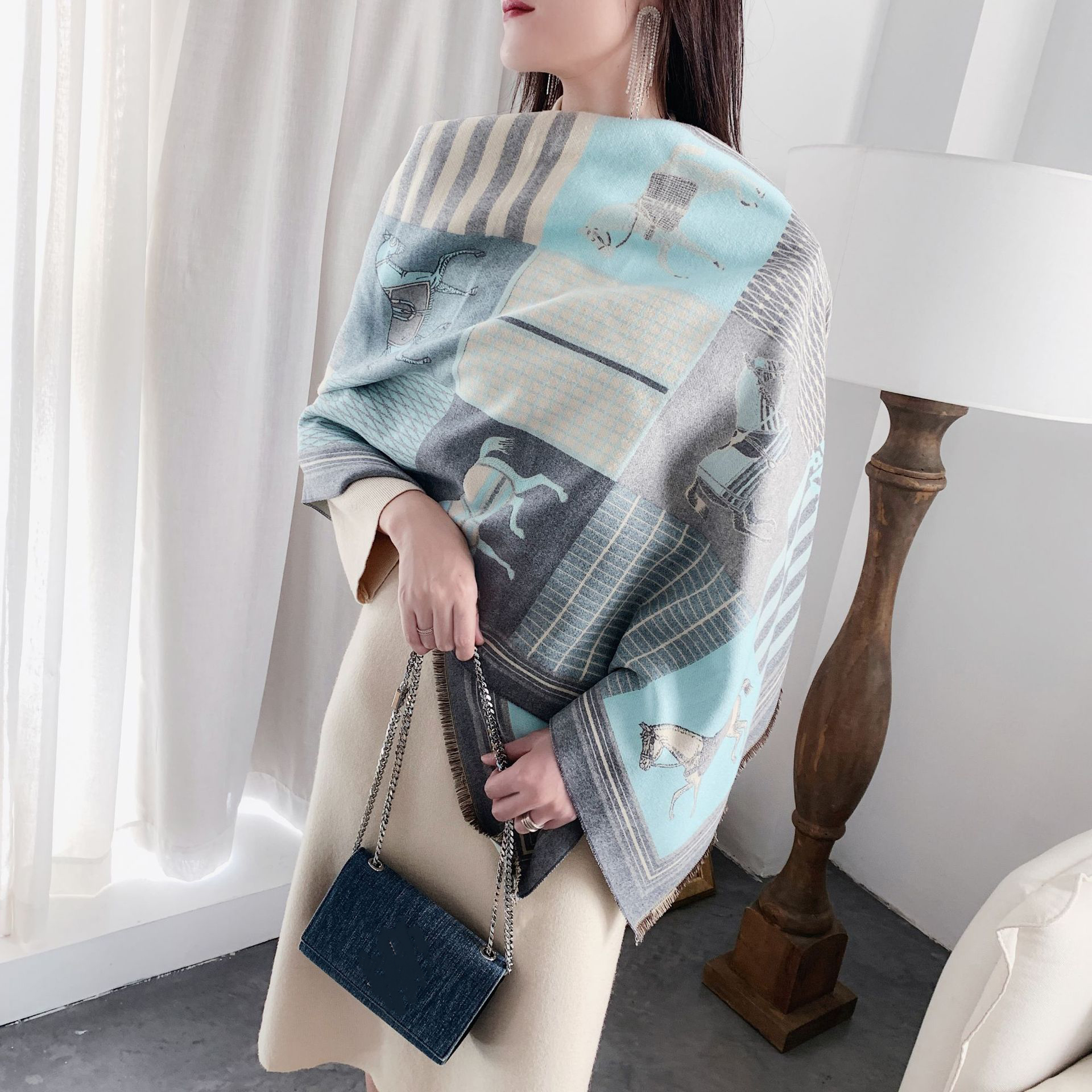 New Horse Printing Women Scarves Imitation Cashmere Pashmina Scarf Female Winter Thick Warm Shawls Wraps Long Bandana 180 65cm in Women 39 s Scarves from Apparel Accessories