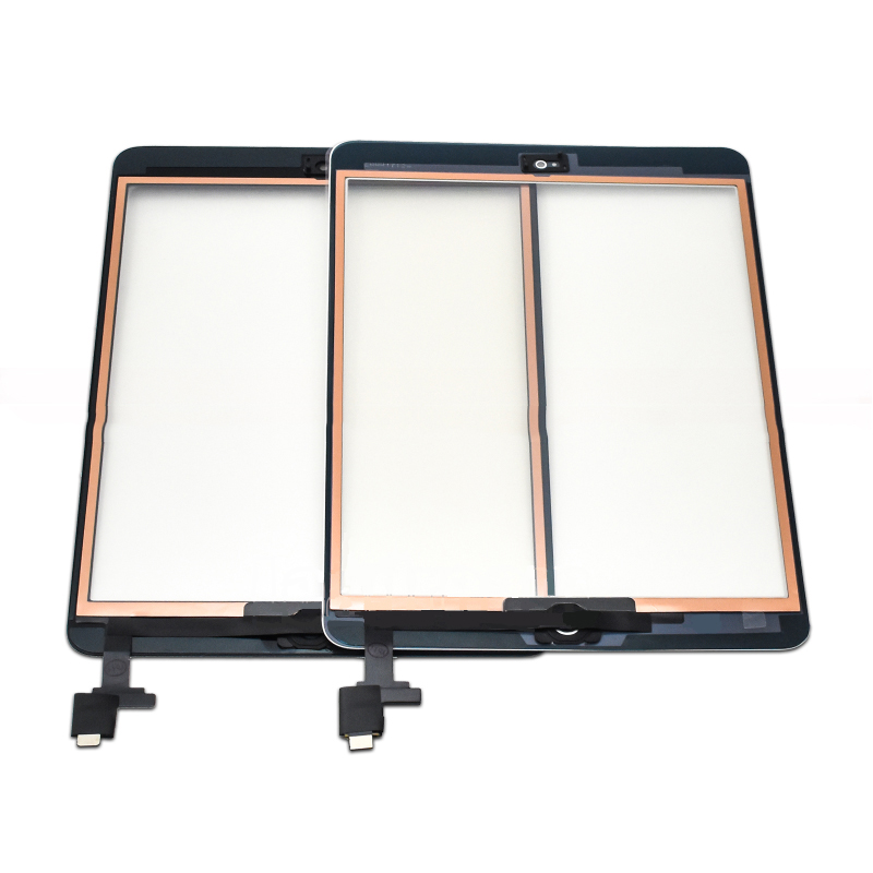 Para iPad Mini 1 Mini 2 A1432 A1454 A1455 A1489 A1490 A149 Sensor de Toque de vidro Digitador Da Tela + IC Chip connector Flex + Botão da Chave