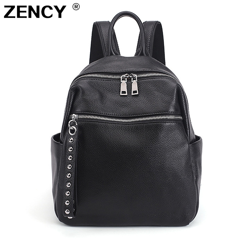 ZENCY Soft 100% Genuine Cow Leather Silver Hardware Women's Backpacks Lady Girl First Layer Cowhide Female School Book Backpack