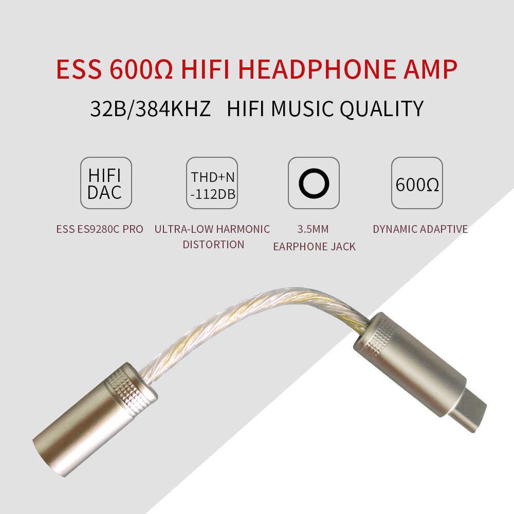 Przenośny wzmacniacz słuchawkowy 600Ω ESS ES9280C PRO HPA DSD 128 USB typ C wzmacniacz DAC dla androida Pixel SAMSUNG Huawei OnePlus Win10