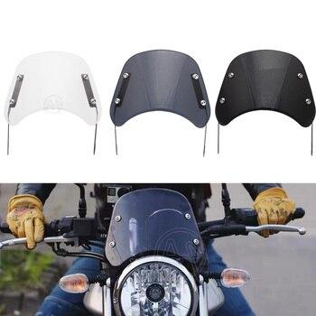 цена на 3colors Motorcycle Windshield Wind Deflector Windscreen Universal for Harley Honda Yamaha Kawasaki Suzuki 6.5-9.45 Headlight