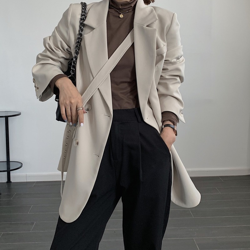 High-end plus size women's clothing Female Blazer 2020 autumn and winter new loose mid-length women's jacket small suit