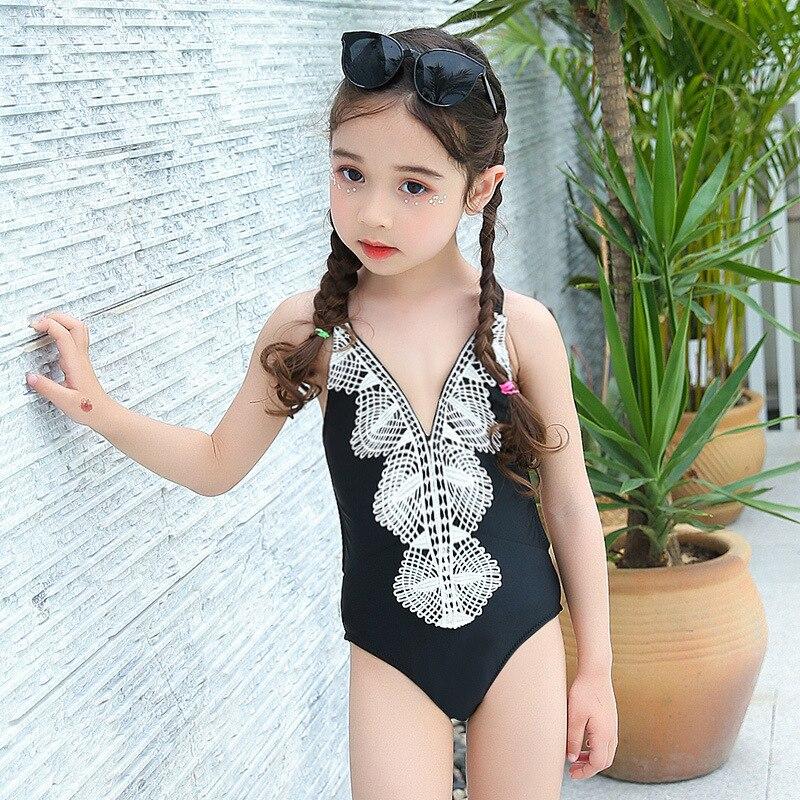 Korean-style Cute Little Girl One-piece Triangular GIRL'S Swimsuit Infants Children CHILDREN'S Swimsuit 1-5-8-10-Year-Old