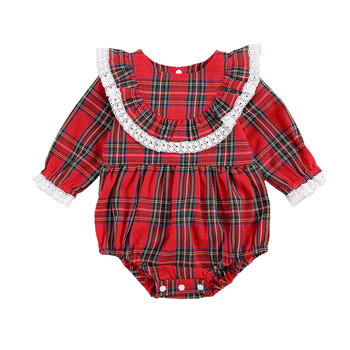 Baby Girl Christmas Romper Long Sleeve Red Plaid Ruffle Lace Jumpsuit Fall Spring Kids Girls Clothes new arrival easter baby girls long sleeve cotton floral ruffle boutique romper tutu pink clothes bunny kids wear match bow kids