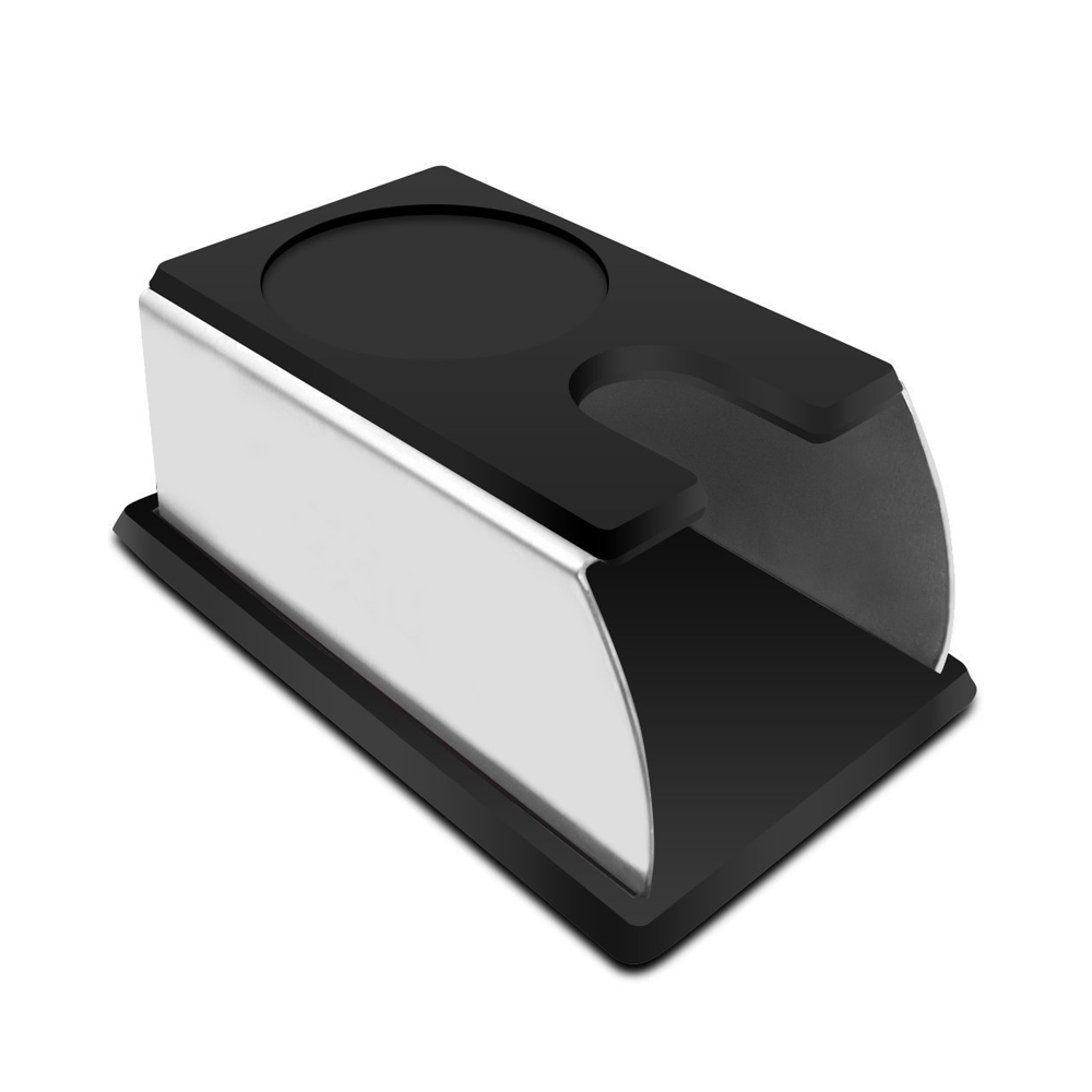 Coffee Temper Stand, Sturdy Stainless Steel Tamping Stand for Coffee Machine and Coffee Tamper Storage Base with Silicone Mat
