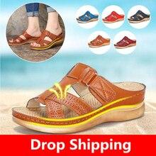 Женские Летние удобные сандалии с открытым носком; очень мягкие ортопедические сандалии премиум-класса на низком каблуке для прогулок; Прямая ; корректор для пальцев ног; Cusion