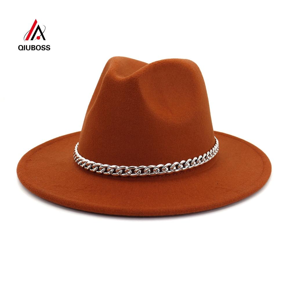QIUBOSS Men Women Top Hats Unisex Flat Brim Wool Felt Winter Gentleman Church Hat Autumn Classic Jazz Fedora Hat Black Yellow