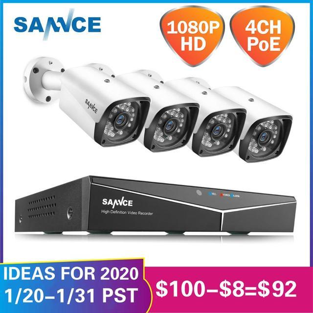 SANNCE 4CH HD 1080P XPOE CCTV видео NVR система 4 шт. 2MP POE ip-камера для улицы, защищенная от атмосферных воздействий, Домашняя безопасность, наблюдение, Wi-Fi к...