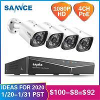 SANNCE 4CH HD 1080P XPOE CCTV Video NVR System 4PCS 2MP POE IP Camera Outdoor Weatherproof Home Security Surveillance WIFI Kits