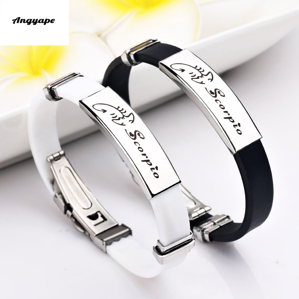 Angyape 12 Constellations Zodiac Signs Stainless Steel Bracelets Men Women Rubber Charm Casual Personality Bracelet Bangle