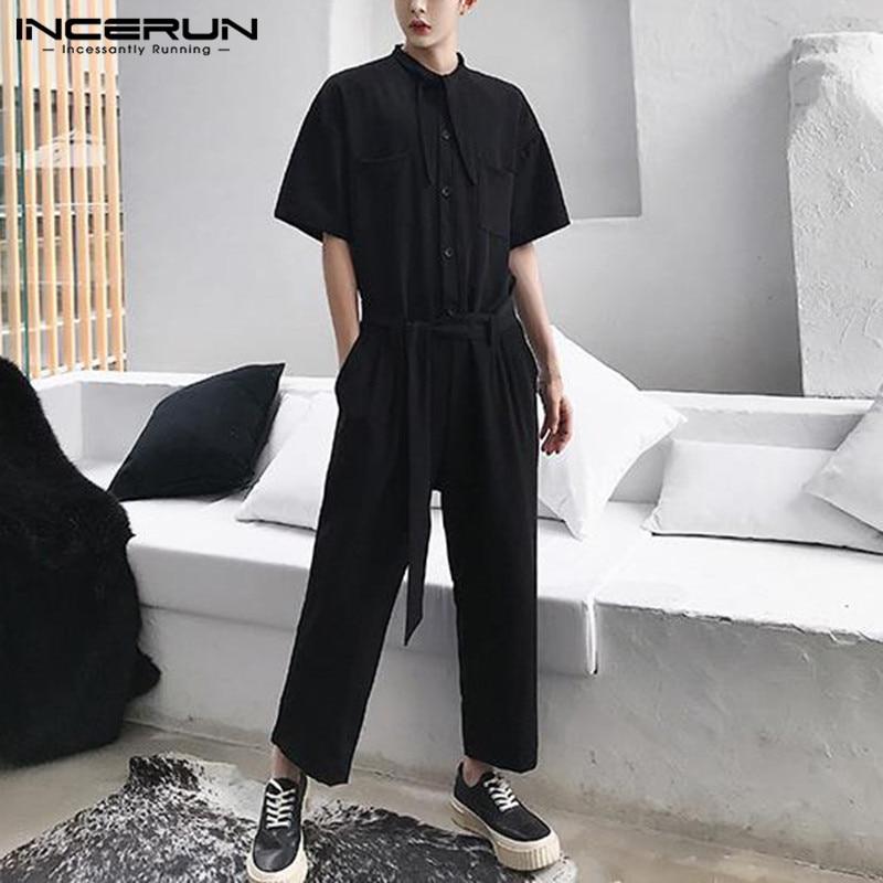 INCERUN Men Solid Color Half Sleeve Jumpsuit Fashion Korean Comfort Baggy Cargo Pants Mens Casual Overalls Rompers Streetwear