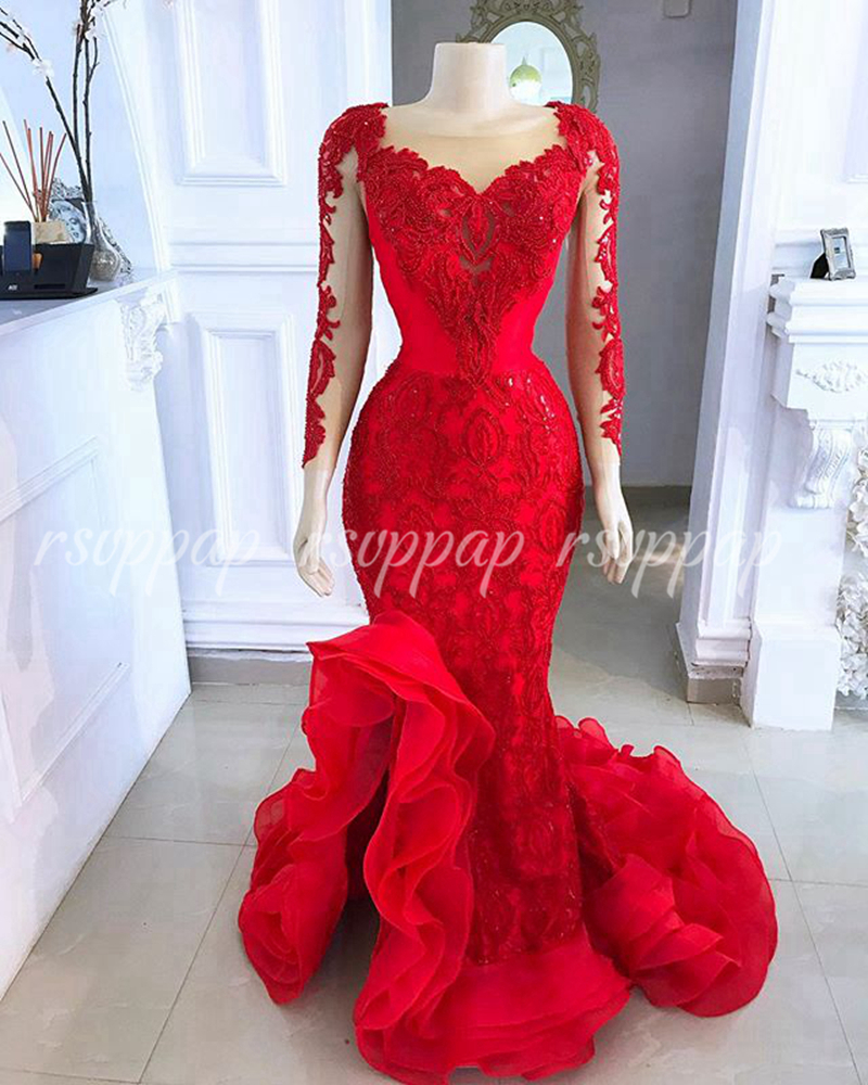 Elegant Sexy Mermaid Women Evening Dresses 2019 Sheer Long Sleeve Red Lace Ladies Formal Party Gowns