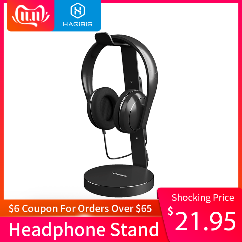Hagibis Headset Headphone stand Holder With 4 Ports of Usb 3.0 Hub Display Audio Port For Bracket and Cable Storage