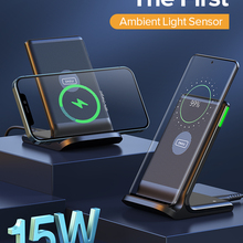 Беспроводное зарядное устройство INIU 15 Вт Qi с автоматическим адаптацией и светодиодным индикатором, устройство для быстрой зарядки телефон...