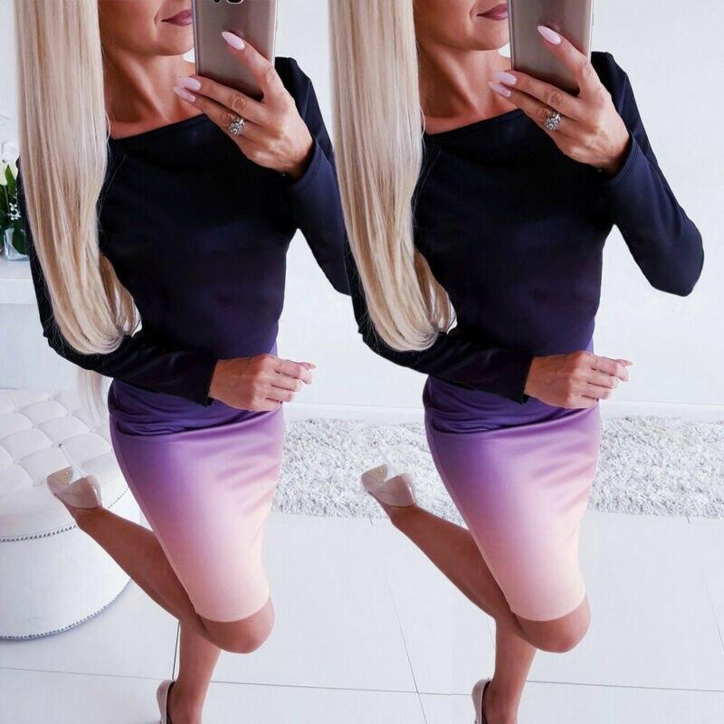 Office lady Elegant Dress Womens New Long Sleeve Ladies Stretch Bodycon Plain Dress Long Tunic Gradient