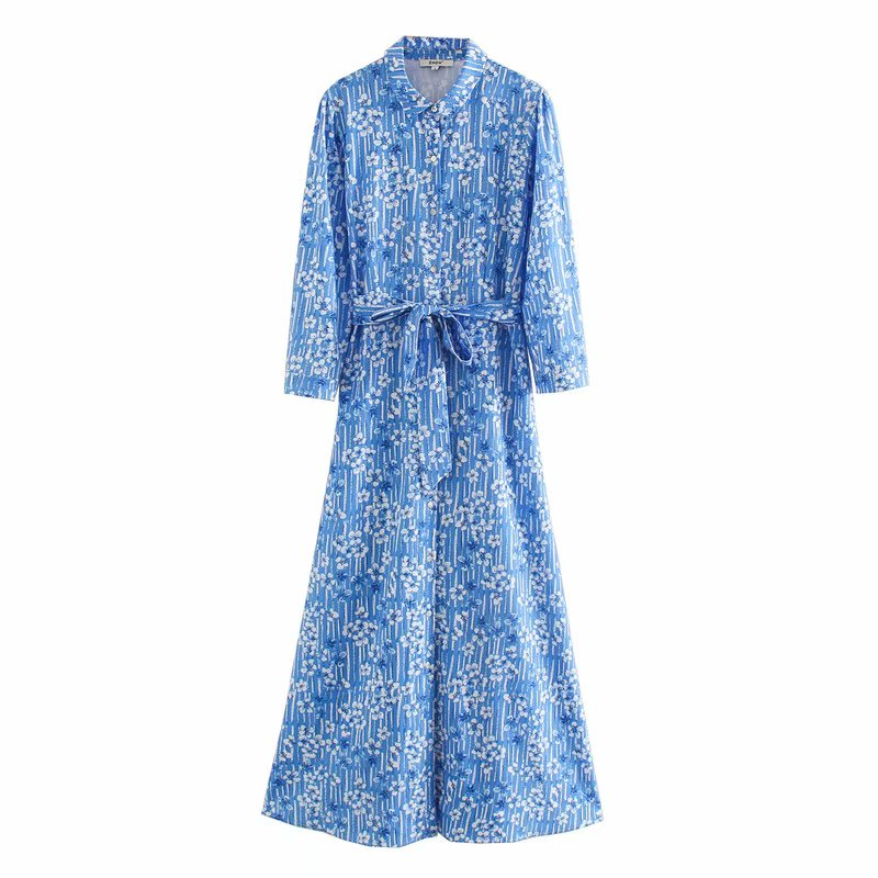 Women Elegant  Three Quarter Sleeve Flower Print Casual A Line Midi Dress Office Lady Sashes Vestido Chic Leisure Dresses DS3418