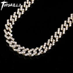 TOPGRILLZ 16Inch-30Inch New Lock Clasp 12mm Heavy Iced Out Cuban Chains Necklace Cubic Zircon Link For Man Hip Hop Jewelry