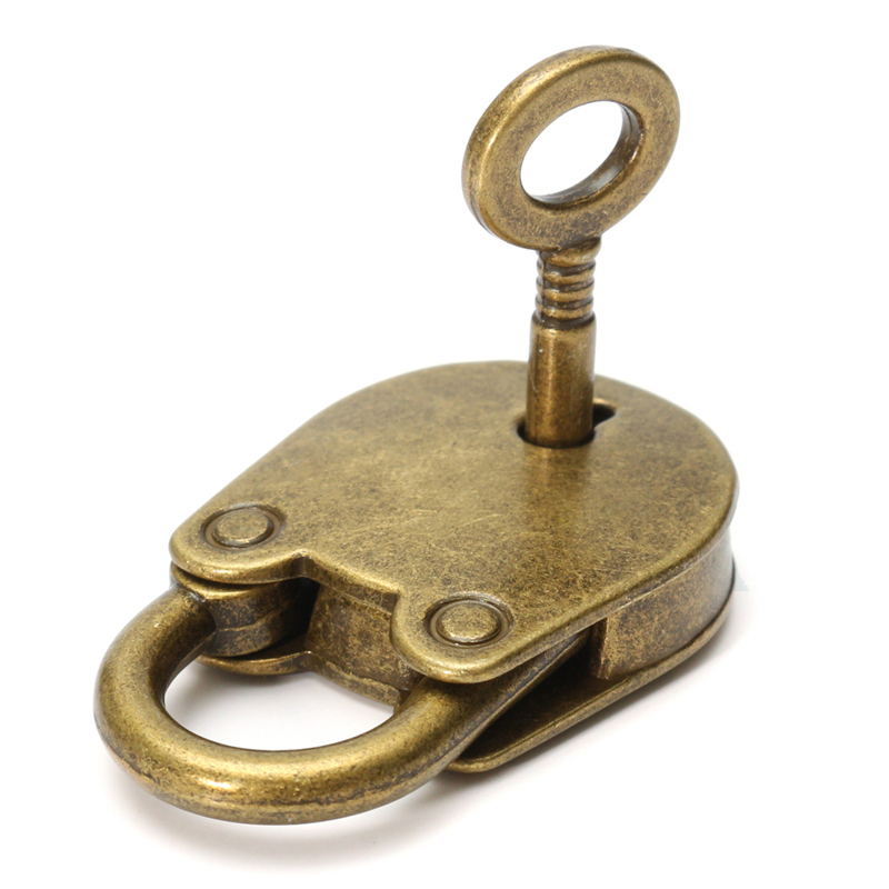 1Set Metal Old Vintage Style Mini Padlock Small Luggage Box Key Lock Copper Color Lot Of 3 Home Usage Hardware Decoration