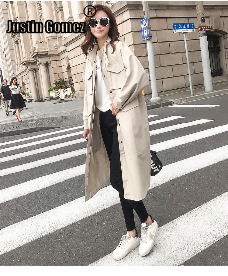 Hot Sale Safari Style   Trench   Coat With Big Pocket Autumn Loose Style Clothes Women Office Daily Work Wear Coat Female Autumn