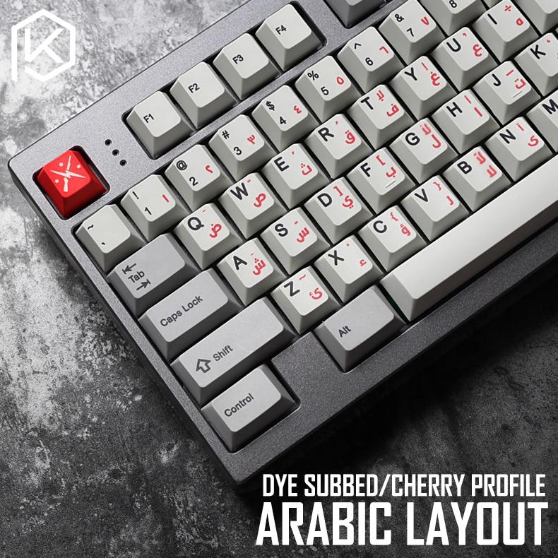 Kprepublic 139 Arabic Language Root Font  Letter Cherry Profile Dye Sub Keycap PBT For Gh60 Xd60 Xd84 Cospad Tada68 87 104 Fc660