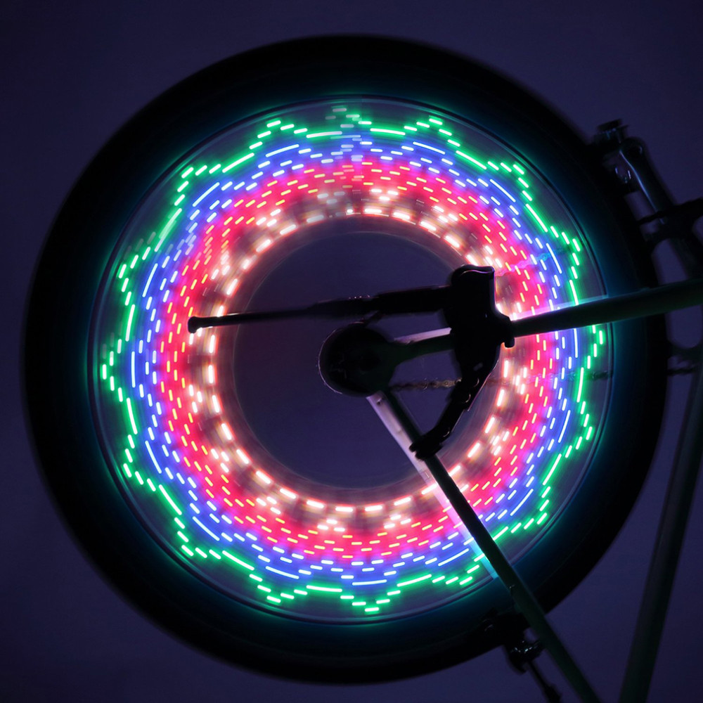1pc Safety LED 32 Modes Bike Spoke Warning Light Waterproof Bicycle Wheel Tyre Flashing Light Signal Lamp Reflective Rim Rainbow