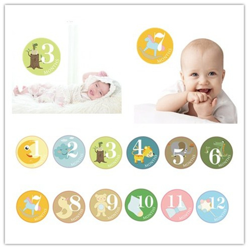 12pcs Newborn Baby Boy Girl Month Stickers Photo Props Accessories Kids Card Number Photo Props Memorial