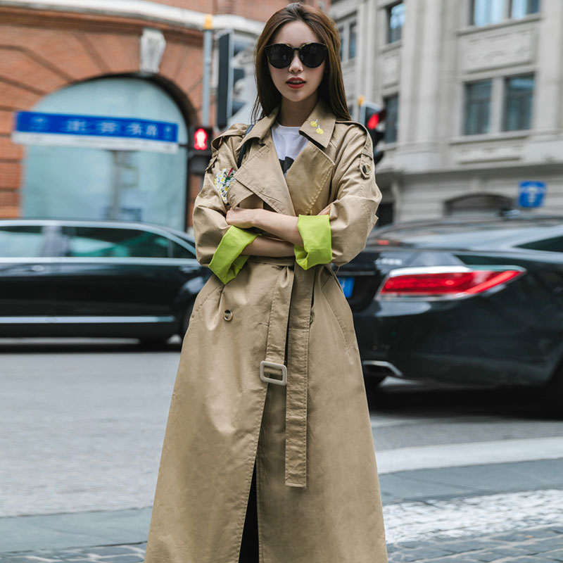 New Runway Fashion 2019 Fall /Autumn Women Casual Simple Solid Embroidery   Trench   Coat With Belt Casaco Feminino